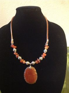 A viking inspired necklace in carnelian agate. Find me @ www.the-violet-rose.com