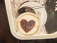 Coffee With A Heart Made Out Of Chocolate Sprinkles #coffee #latte #latte_art #coffee_art #heart