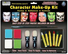 Be any character you want. 6 makeup sticks (white blue tellow red green and black) 2 applicator sponges 1 paint brush and full color instructions for 3 different faces. Enough for a dozen faces. Box Dimensions (in Inches) Length: 16.00 Width: 13.00 Height: 3.00