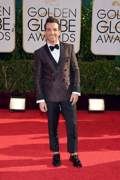 George Kotsiopoulos wore a Etro double breasted brocade jacket at 71st Annual Golden Globes Awards, Beverly Hilton Hotel