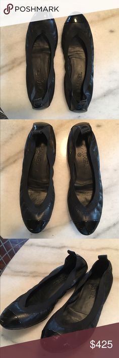 Chanel Black Leather Flats Black lamb leather Chanel ballet flats. Size 38. Made in Italy. Run slightly small and fit a size 7.5 beautifully. Slight markings at heel and toe, unnoticeable when worn. Otherwise in really great condition. CHANEL Shoes Flats & Loafers