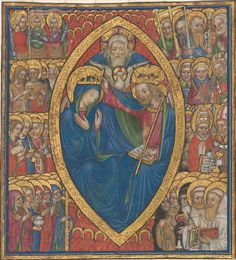 Coronation of the Virgin with the Trinity and Saints, miniature from a book of psalms (Milan), c. 1440, Tempera and gold leaf on vellum, overall: 15.7 x 14.3 cm