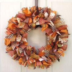 Fall Wreath Ribbon Door Wreath for Fall Decor por AWorkofHeartSA
