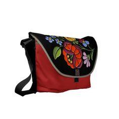Kalocsa Embroidery - Hungarian Folk Art black bg. Commuter Bag