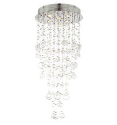 Chrome and Glass Spheres 39 1/4 High Halogen Ceiling Light