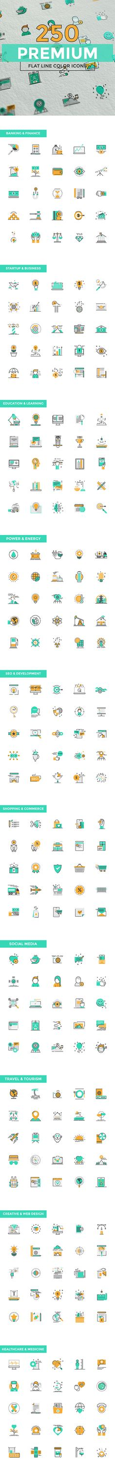 Set of modern color line design vector icons for mobile and web applications.
