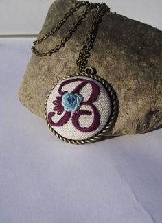 Hand embroidered pendant with letter B by ZoZulkaart on Etsy