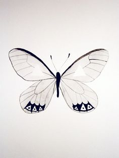 Watercolor - Butterfly - Gray - Black - White - Original - Artwork