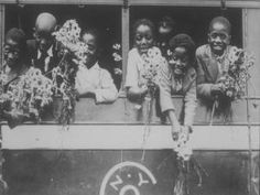 """1854 to 1929 - Over 200,000 children left NYC on """"Orphan Trains,"""" sent to rural areas in the West and South and offered for fostering or labor. In the early 20th century the Colored Orphan Asylum (the orphanage destroyed during the NYC Draft Riots) placed some children with African-American farmers near NY. Source of this photo is not clear, but link goes to a good article. (The much larger Children's Aid Society served a few African-American by wanda"""