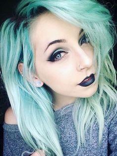 alternative, black, black lipstick, blue eyes, earrings, emo, eye makeup, eyeliner, fashionable, gauges, goth, green hair, grunge, hair, indie, lips, lipstick, makeup, pastel goth, pastel green, piercings, scene girl, style, winged eyeliner