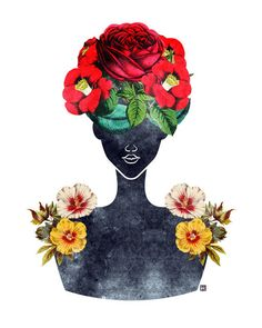 Flower Natural Hair Silhouette Art Print (0003), Dark Fashion Portrait Illustration, 5x7, 8x10, 11x14