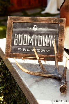 Meritt Elliott and John Rankin's backyard dinner party served Boomtown Brewery // antler décor
