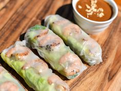Simple Vietnamese grilled shrimp summer rolls with peanut sauce