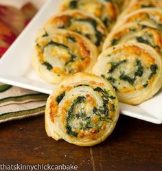 Spinach Pinwheels | A terrific appetizer that always gets rave reviews! thatskinnychickcanbake.com @lizzydo