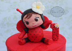 . Cake Cookies, Cupcakes, Bug Cake, Fondant Baby, Ladybug, Cake Toppers, Bugs, Birthday Parties, Hello Kitty