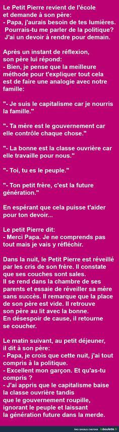 Politique... Le Petit Pierre revient de l'école et demande à son père... | LABOULETTE.fr - Les meilleures images du net!