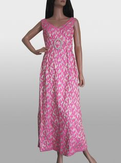 Vintage 1960s Hot Pink & Gold Evening Maxi Dress By Blanes available to buy online at Virtual Vintage Clothing £50