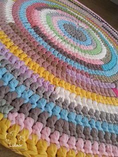 verkauf crochet runder teppich t shirt garn teppich von lulaor stricken h keln pinterest. Black Bedroom Furniture Sets. Home Design Ideas
