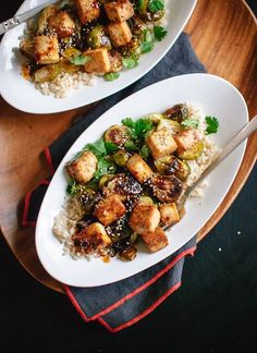 Tender, caramelized brussels sprouts with extra crispy tofu and brown rice, topped with an irresistible sweet-and-spicy glaze. Gluten free and easily vegan.