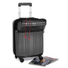 "Office Turnaround by Mosaic laptop carry-on. Sleek and functional with a telescopic handle, TSA cable lock, dual access to the computer section and precision spinner wheels. Lightweight polycarbonate. Carbon Gray. 22"" x 14"" x 9"". 5.85 lbs. $159.95"
