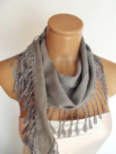 New Design Pashmina scarf with lace by smilingpoet on Etsy, $18.90