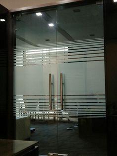 Custom cut - horizontal stripes Office Cabin Design, Law Office Design, Medical Office Design, Office Interior Design, Office Interiors, Glass Film Design, Frosted Glass Design, Frosted Glass Door, Etched Glass Door