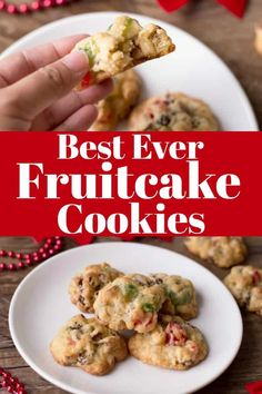Best Ever Fruitcake Cookies tastes like Christmas in a bite! You will want to make a double batch! Candy Recipes, Holiday Recipes, Cookie Recipes, Christmas Recipes, Pastry Recipes, Fruit Recipes, Holiday Treats, Fruit Cookies, Xmas Cookies