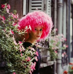 May.  (Model in pink marabou hat, 1960, Paris by Mark Shaw)