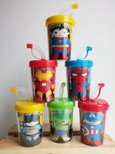 Super Heros Batman, Superman, Iron Man, Hulk, Captain America, Spiderman Personalized Birthday Party Favor Treat Cups Set of 6 on Etsy, $12.99