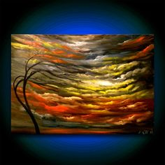 retro cloud tree painting large oil painting abstract  by mattsart, $250.00...I love his use of light.