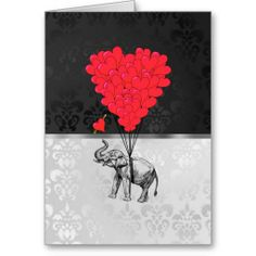 Elephant & heart balloons cards