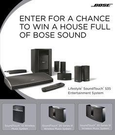 I just entered this Bose sweepstakes for a chance to win a house full of Bose sound - you could win too!