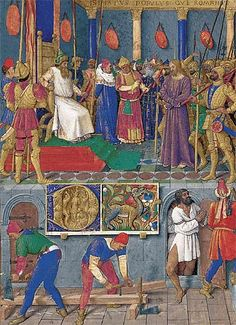 Two carpenters at work to build the cross. The right man uses a rule.   Jean Fouquet, around 1450. The Hours of Etienne Chevalier, F 76.