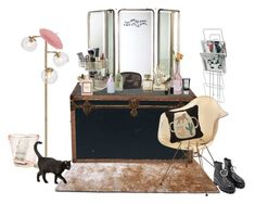 """""""DRESSING TABLE"""" by melissaolivares ❤ liked on Polyvore featuring interior, interiors, interior design, home, home decor, interior decorating, PBteen, Gold Sparrow, Arteriors and blomus"""