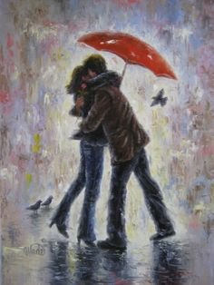 Kiss in the Rain Art Print, lovers, love, rain, loving couples, art, prints, paintings, kissing, red umbrella, umbrellas, hugging, romantic