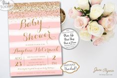 Invite your guests to a gorgeous baby shower with these fun printable invitations. Our templates are easy to edit in Acrobat Reader. INSTANT DOWNLOAD Watercolor Pink and White with gold glitter confetti Printable Invitations. These invitations are perfect for a fun baby shower celebration. Find more coordinating printables at JanePaperie: https://www.etsy.com/shop/JanePaperie