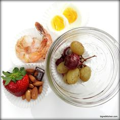 Roasted Grapes, Red Pearl Onions, Shrimp, and Eggs - Mason Jar Meal