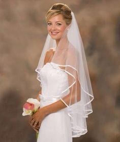 Lindo Véu De Noiva Com Borda 2 Camadas Casamento Branco - R$ 49,99