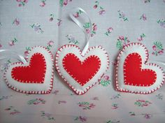 Heart hanging decorations Scandinavian style  felt by Hippywitch, £10.00