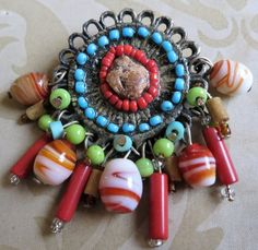 Vintage multi-colour bead drop brooch, silver tone, red green blue Boho (3342)