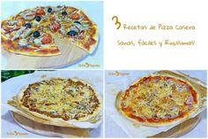 3 Recetas de Pizza Casera Pizza Recipes, Easy Dinner Recipes, Gourmet Recipes, Easy Meals, Cooking Recipes, Pepperoni Pizza Puffs, Yeast Dough Recipe, Greek Pizza, Breads