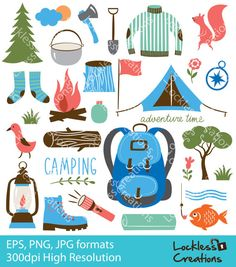 Camping Elements Digital Clip Art Instant Download