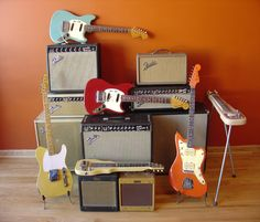 Vintage Fender guitars and amps. I just love all things Fender! Thanks Leo & George! Guitar Shop, Jazz Guitar, Music Guitar, Cool Guitar, Gretsch, Fender Telecaster, Fender Guitars, Electric Guitar And Amp, Fender Electric Guitar