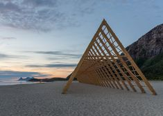 Timber frames constructed on an island in Norway to host concerts.