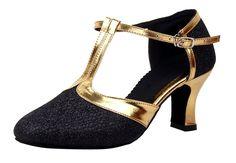 9e779c989899 Honeystore Women s Latin Dance Closed Toe T Strap Glitter Mary Jane Dance  Shoes  Amazon.co.uk  Shoes   Bags