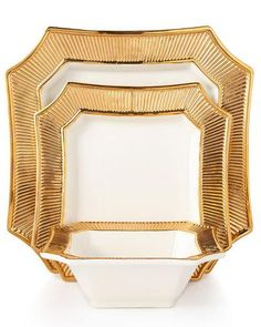 Shop Square Dinnerware Service & Platter from Neiman Marcus at Horchow, where you'll find new lower shipping on hundreds of home furnishings and gifts. Porcelain Dinnerware, Dinnerware Sets, Square Plate Set, Gold Wedding Colors, Gold Kitchen, Kitchen Dining, Elegant Dining, Cereal Bowls, Earthenware