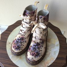 Dr Martens Air Wave Floral Canvas Boot Rare find and great condition pair of durable boots from Dr Martens. Purchased online from Urban Outfitters. Canvas material with a gorgeous floral print along with silk laces. The pictures are worth a thousand words for these boots! Worn only once outside. Dr. Martens Shoes Combat & Moto Boots