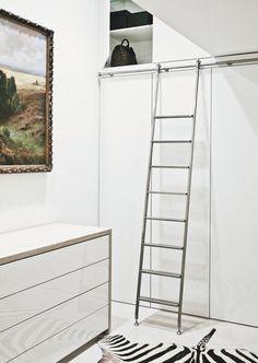 AKZENT sliding ladder with telescopic hardware. Master Closet, Walk In Closet, Rolling Ladder, Library Ladder, Bedroom Cupboards, Parents Room, Hotel Room Design, Wardrobe Design, Dream Apartment