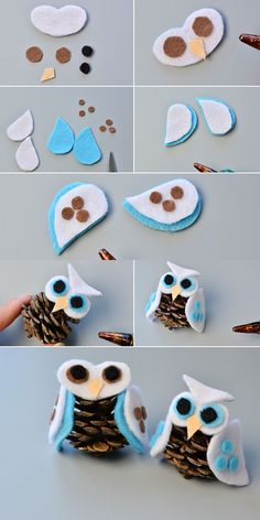 felt owl home decor, like this cut one? The tutorial will be shared by LC. Pinecone Crafts Kids, Easy Halloween Crafts, Owl Crafts, Pine Cone Crafts, Autumn Crafts, Christmas Crafts For Kids, Diy Christmas Ornaments, Christmas Projects, Holiday Crafts