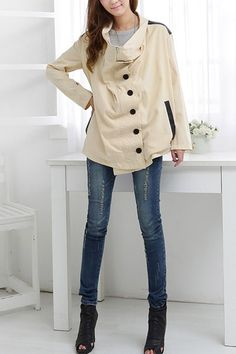 This coat crafted in polyester, featuring a funnel collar, a concealed zip placket and single breasted front fastening, PU shoulders, slant pocket to each side, in medium length cut.$114
